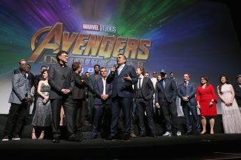 HOLLYWOOD, CA - APRIL 23: Directors Anthony Russo and Joe Russo and cast & crew of 'Avengers: Infinity War' attend the Los Angeles Global Premiere for Marvel Studios' Avengers: Infinity War on April 23, 2018 in Hollywood, California. (Photo by Jesse Grant/Getty Images for Disney) *** Local Caption *** Joe Russo; Anthony Russo; Robert Downey Jr.; Chris Pratt; Josh Brolin; Chris Hemsworth; Scarlett Johansson; Benedict Cumberbatch; Tom Holland; Elizabeth Olsen; Zoe Saldana; Karen Gillan; Mark Ruffalo; Vin Diesel; Paul Bettany; Sebastian Stan; Chadwick Boseman; Bradley Cooper; Paul Rudd; Gwyneth Paltrow